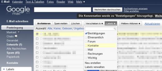 Gmail Label-Dropdown